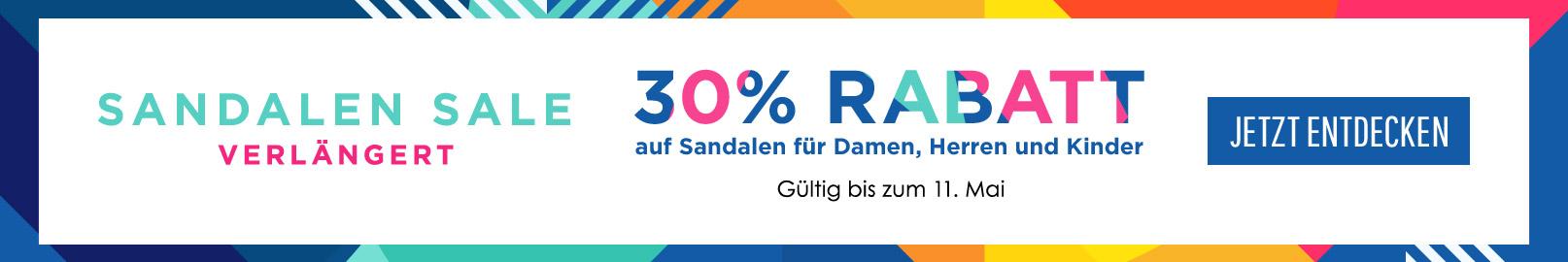 Jetzt 30% Rabatt auf alle Sandalen