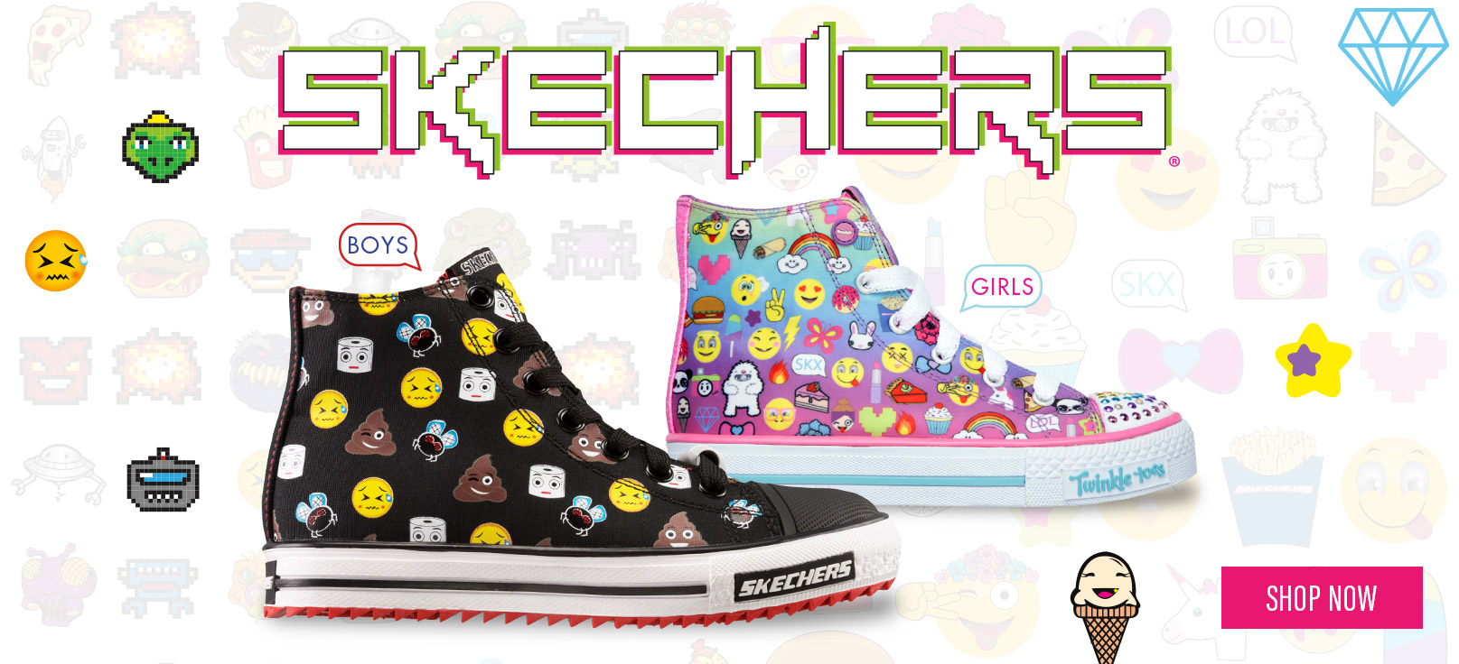 Skechers Kids shoes including Girls and Boys lighted shoes, athletic shoes and Twinkle Toes