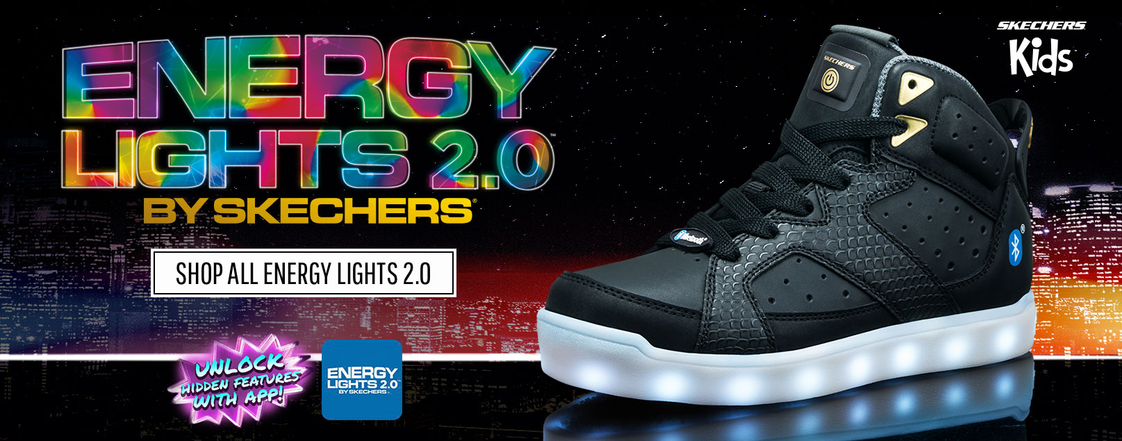 kechers takes lighted shoes into the future with the all new Energy Lights Bluetooth!  Control the colors and sequences, sync your shoes to your music, and lots more with the free Energy Lights app!