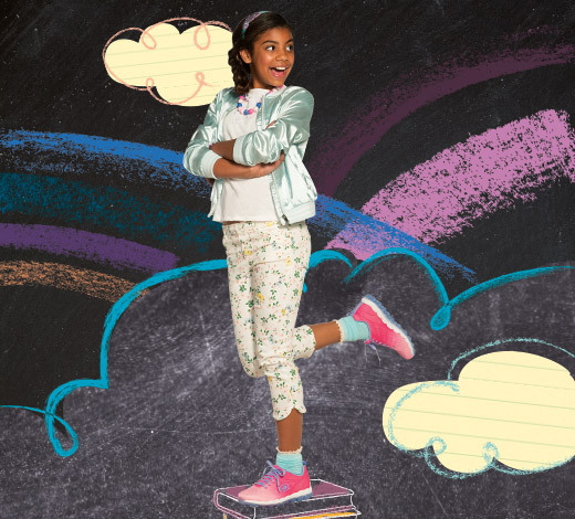 Shop Skechers Back to School for Girls including Twinkle Toes, Memory Foam and uniform shoes.