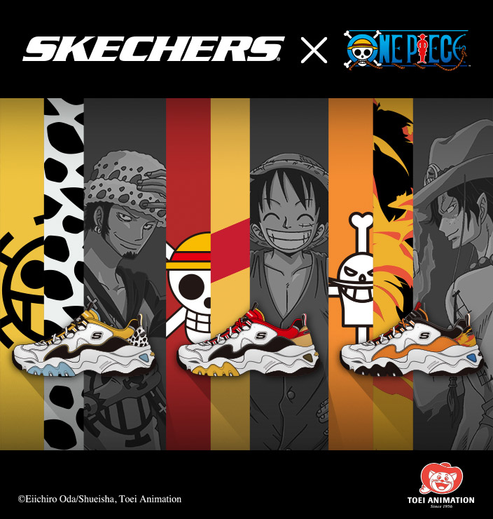 The exciting adventures of Monkey D. Luffy continue in the Skechers D'Lites x One Piece volume 2 collection - The Battle of Marineford!  Relive the action with an all new collection of men's and women's D'Lites sneakers
