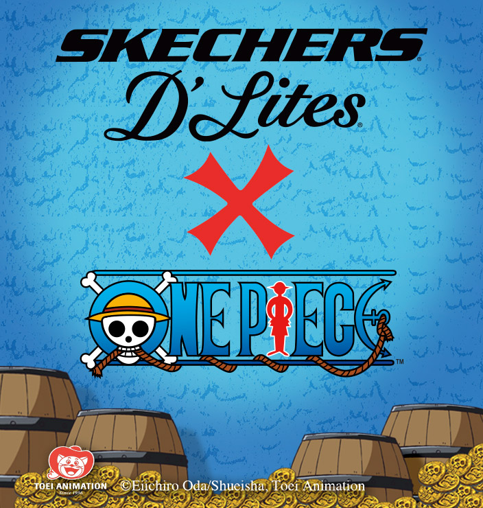 Set sail for adventure with the Skechers x One Piece collection - a limited edition D'Lites 2 Sweet Monster featuring the cast of the best-selling manga and anime.