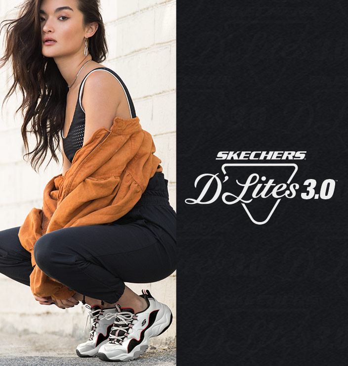 Airy comfort and updated style comes in the third generation of D'Lites sneakers by Skechers. Retro inspired 'dad shoe' style for maximum cool looks and comfort