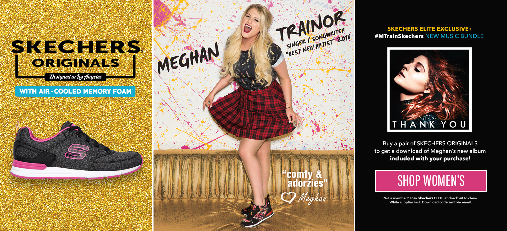 Shop on Skechers.com for women including Memory Foam sneakers, sandals, women's casual shoes, women's athletic sport shoes, and Skechers Originals as worn by Meghan Trainor