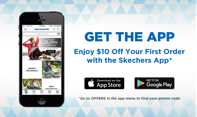 Get the Skechers shopping App and save money on your first purchase