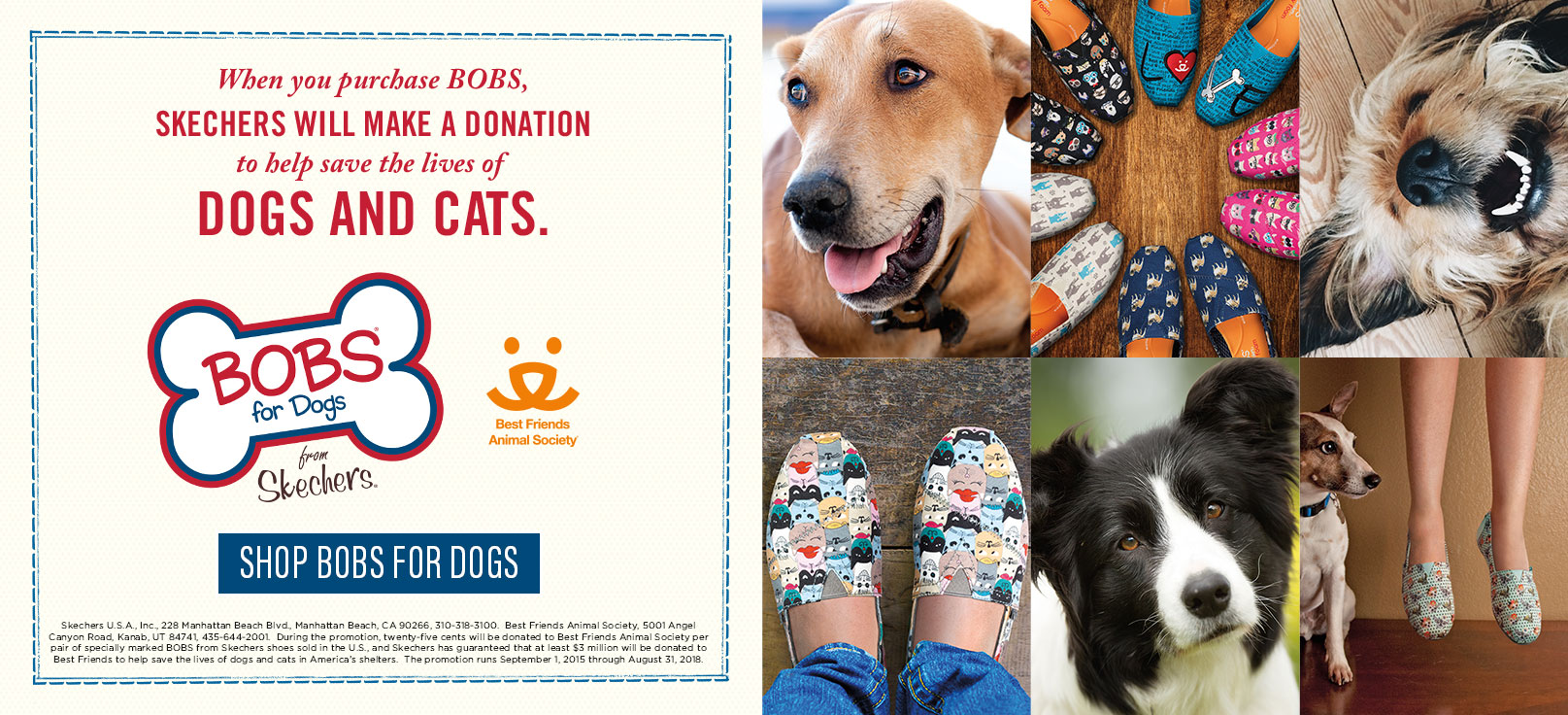 Skechers BOBS for Dogs, casual lifestyle shoes that benefit Best Friends Animal Society