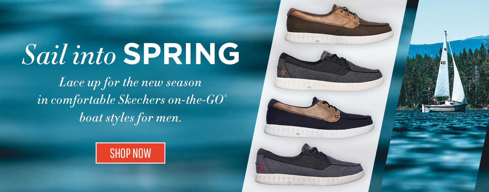 Sail into the season with comfortable Skechers On the GO Boat shoes for men