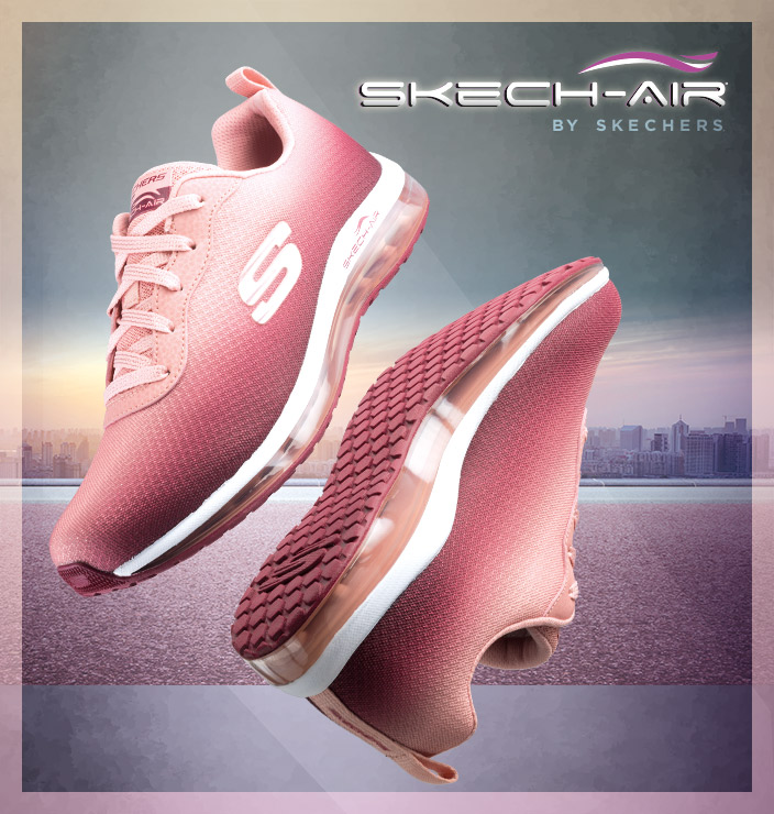 Comfort takes flight with Skech-Air by Skechers.  Athletic training sneakers with Air Cooled Memory Foam and Skech-Air visible cushioned midsoles for comfort and support.