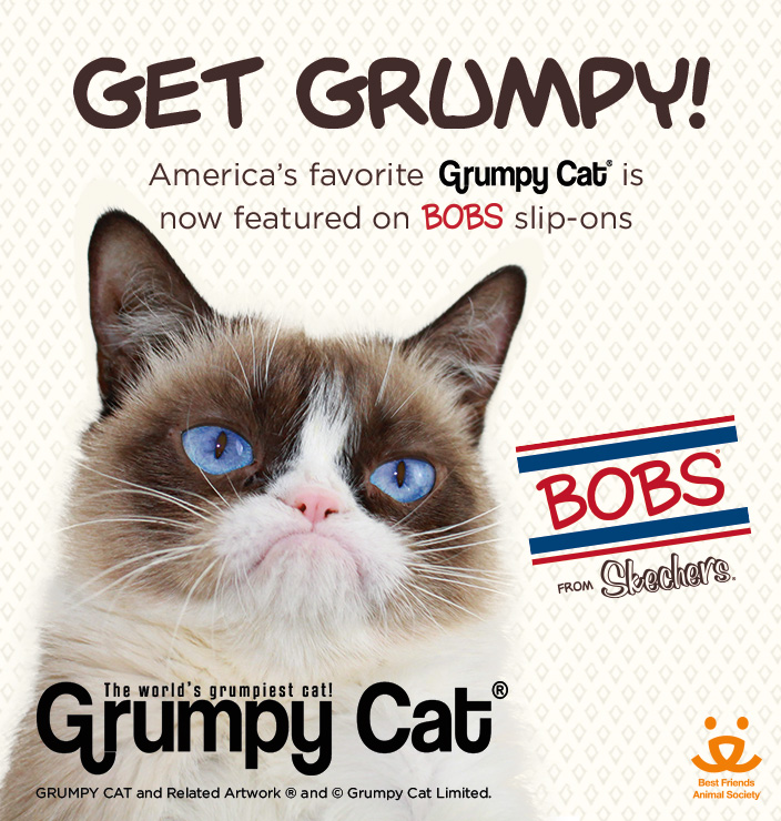 America's favorite Grumpy Cat is now featured on BOBS slip-ons