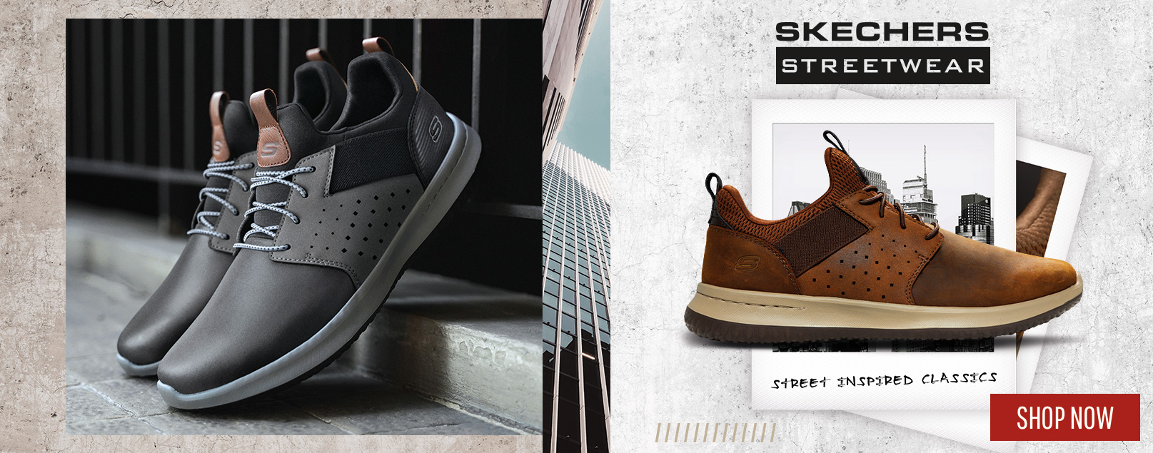 Find the latest Skechers Streetwear shoes with street-inspired style and long lasting comfort.  Great looking casual shoes with Air Cooled Memory Foam insole comfort.