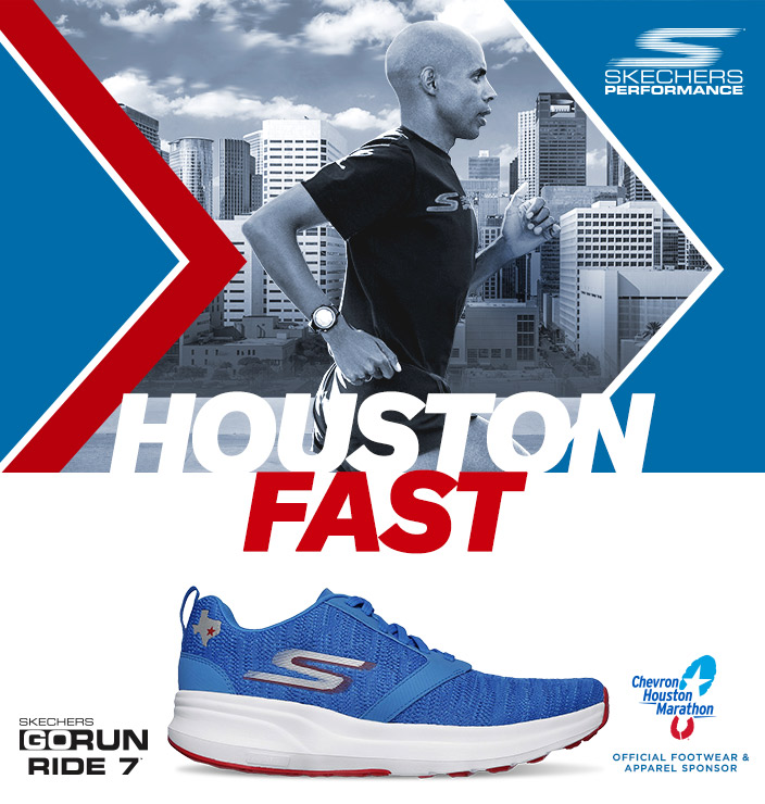 Get ready to run Houston Fast with Skechers Performance GOrun footwear from the Chevron Houston Marathon 2019.  Bold Texas colors and details.