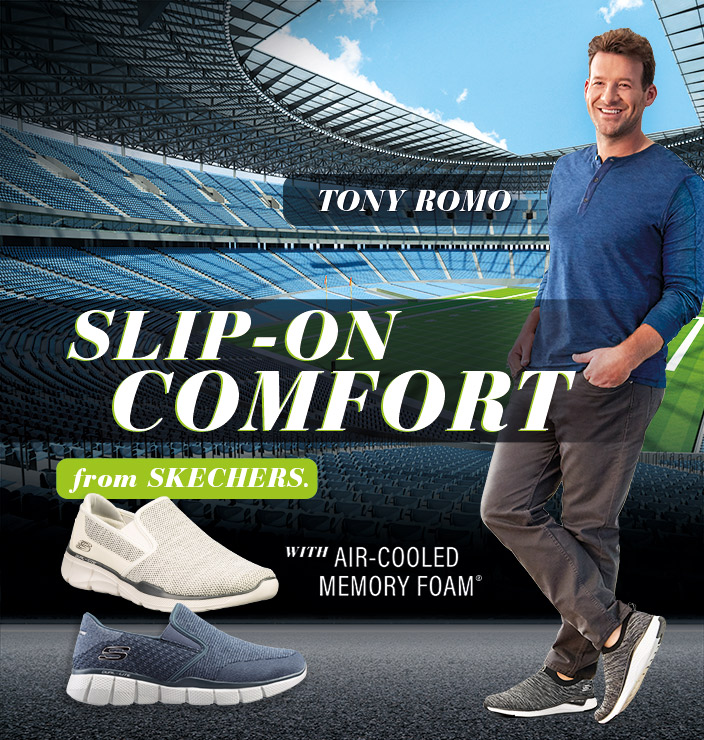 Score some major style points like Tony Romo wearing the Skechers Sport slip on collection.  Athletic style and Air Cooled Memory Foam comfort now in an easy to wear slip on design.