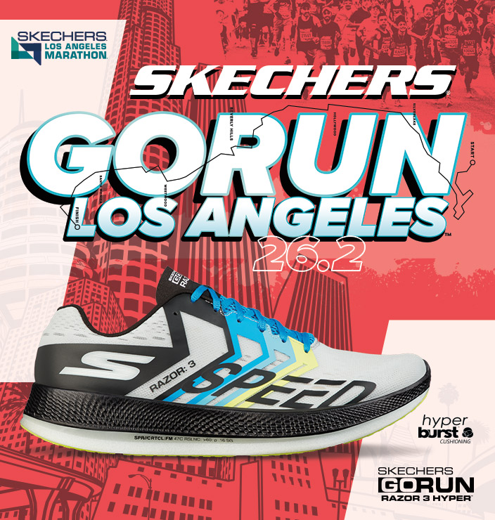 Get set to run the city with the Skechers Performance Los Angeles Marathon 2019 collection.  The sponsors of the race present a commemorative collection of shoes and apparel with signature LA colors and details.