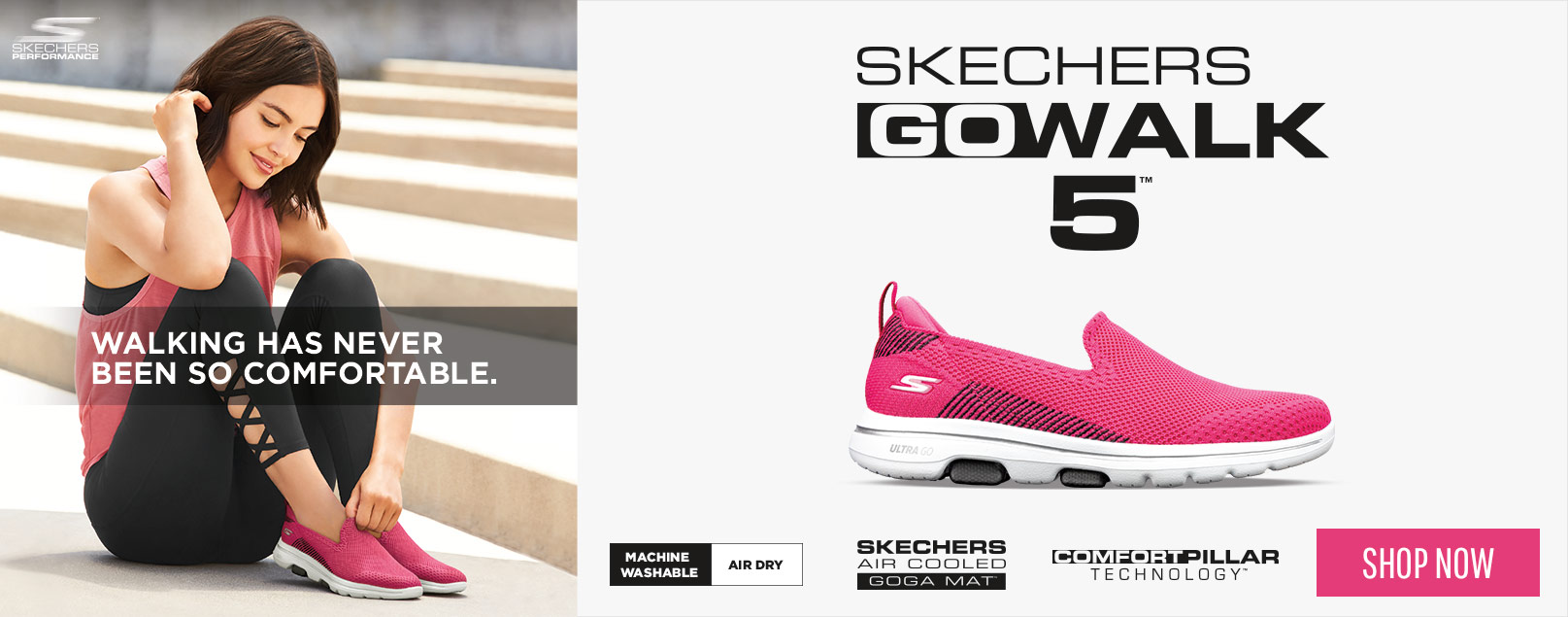 The leaders in walking technology keep innovating with the Skechers Performance GOwalk 5 - the latest in comfort and cushioning to keep you walking with support and stability.  Selected shoes are machine washable.