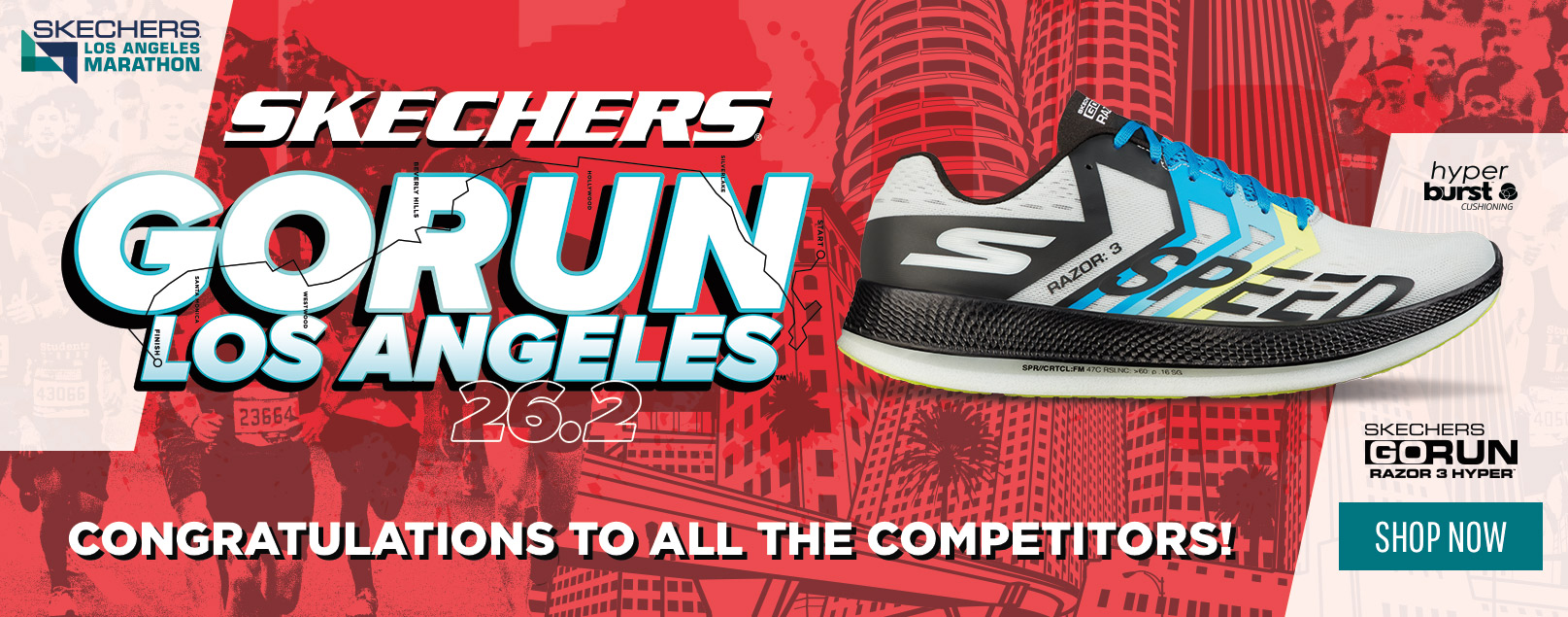 Congratulations to all the competitors of the 2019 Skechers Performance Los Angeles Marathon 2019.  The sponsors of the race present a commemorative collection of shoes and apparel with signature LA colors and details.