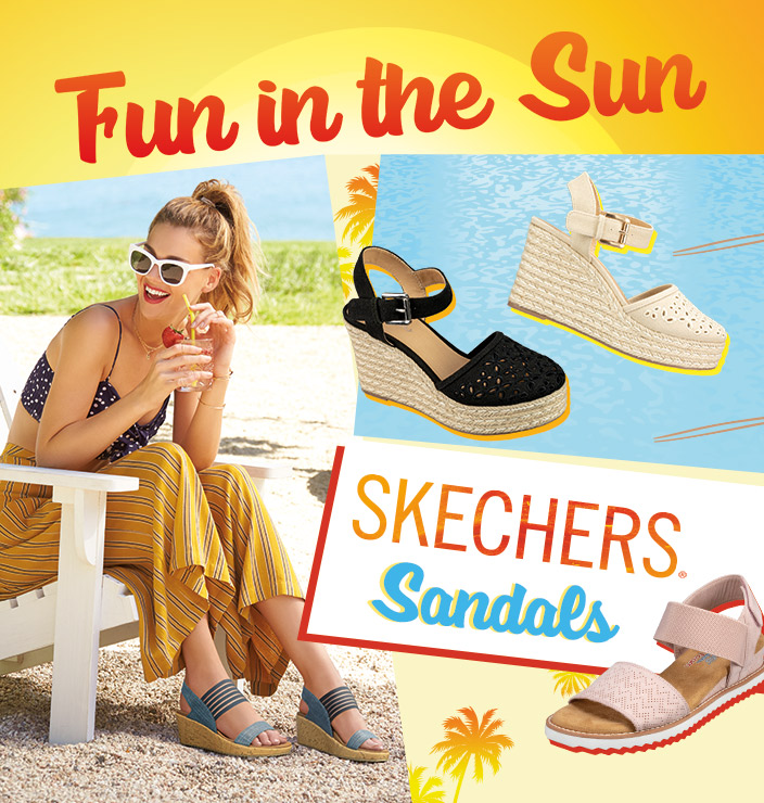 5696db41d97e25 Have fun in the sun with the sandal collection by Skechers Cali. Sandal  looks from