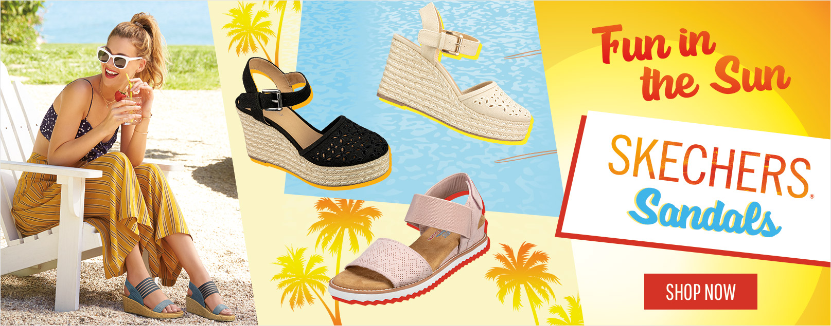 ae59b396a61e Have fun in the sun with the sandal collection by Skechers Cali. Sandal  looks from