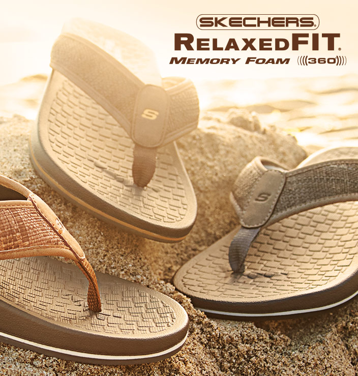 3393c9a9513 Stay relaxed all season long with the Skechers Relaxed Fit sandal  collection. From flip flops. Shop Now
