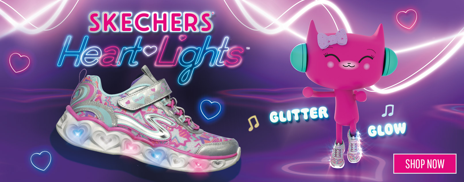 Light-up fun she's sure to love comes in the Heart Lights by SKECHERS.  Sporty sneakers with light up hearts for adorable style that's easy to wear.