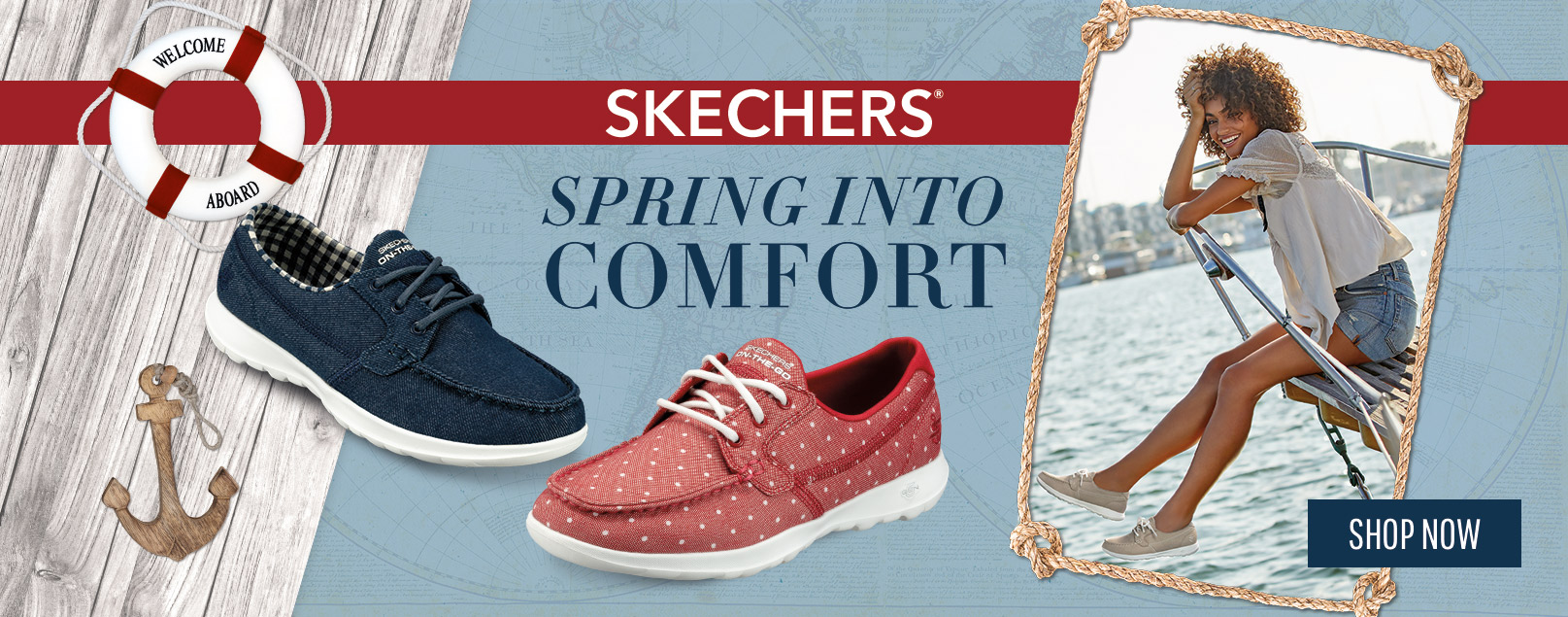 Spring into comfort with the Skechers Performance On the GO Boat Shoe collection.  Yacht ready style with GOwalk inspired comfort, ready for warm weather wear.