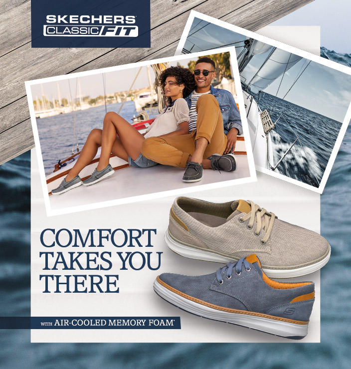 Get on board with the most comfortable boat shoe collection yet from Skechers USA Classic Fit.  A collection of boat oxfords and loafers in soft canvas and rich leathers that give you yacht-ready style.
