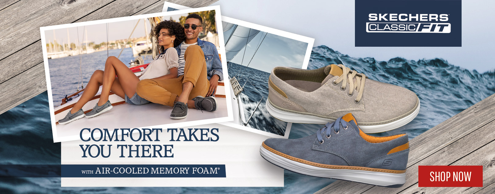 Get on board with the most comfortable boat shoe collection yet from Skechers USA Classic Fit.  A collection of boat oxfords and loafers in soft canvas and rich leathers that give you yacht-ready style.  Selected shoes are machine washable.