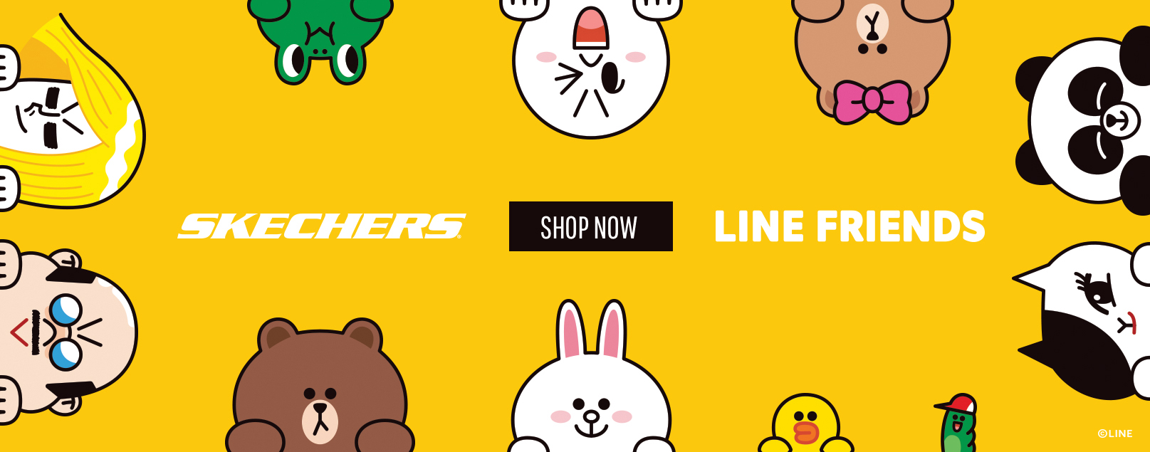 Discover a world of adorable friendship with the Line Friends x Skechers collection!  Fun shoes and sneakers featuring Brown, Choco, Cony, Sally and more super-kawaii Line Friends characters.