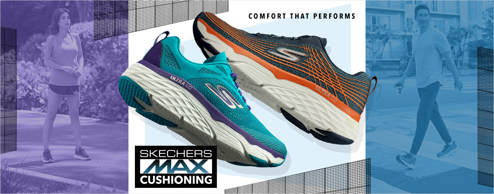 Get the maximum amount of comfort and support from the new Skechers Max Cushioning shoe.  An athletic running and walking comfort design with lightweight ULTRA GO cushioning for long lasting comfort.