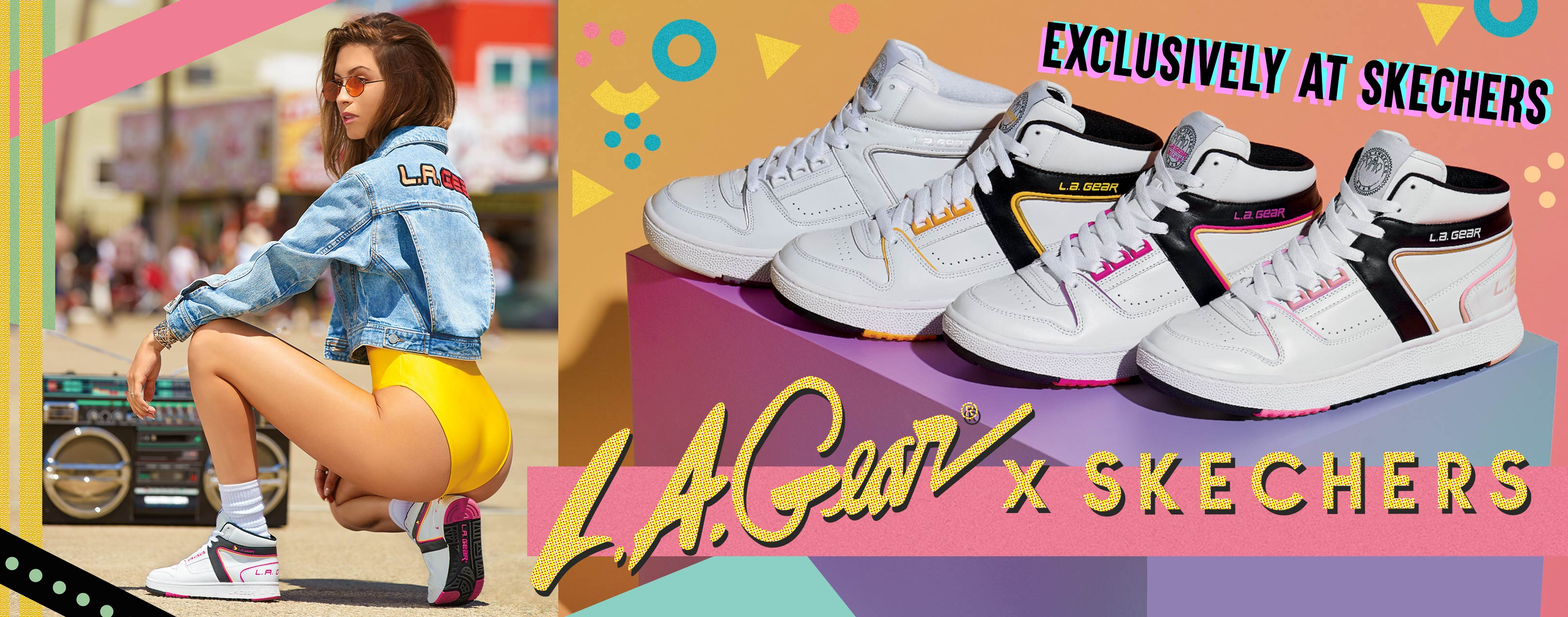 Go back to the future of athletic style and 80's court show cool with the L.A. Gear by Skechers collection.  Encore reissues of the classic basketball sneakers with Skechers Air Cooled Memory Foam comfort.
