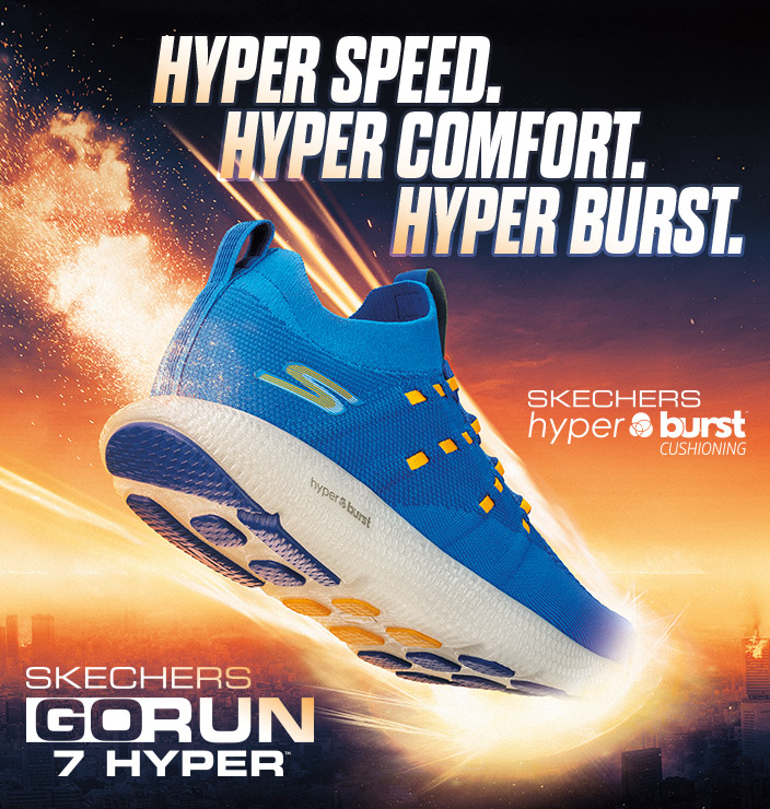 Discover Hyper Speed with the new Skechers Performance GOrun 7 Hyper Burst.  Award winning lightweight design for a run like you've never experienced before.