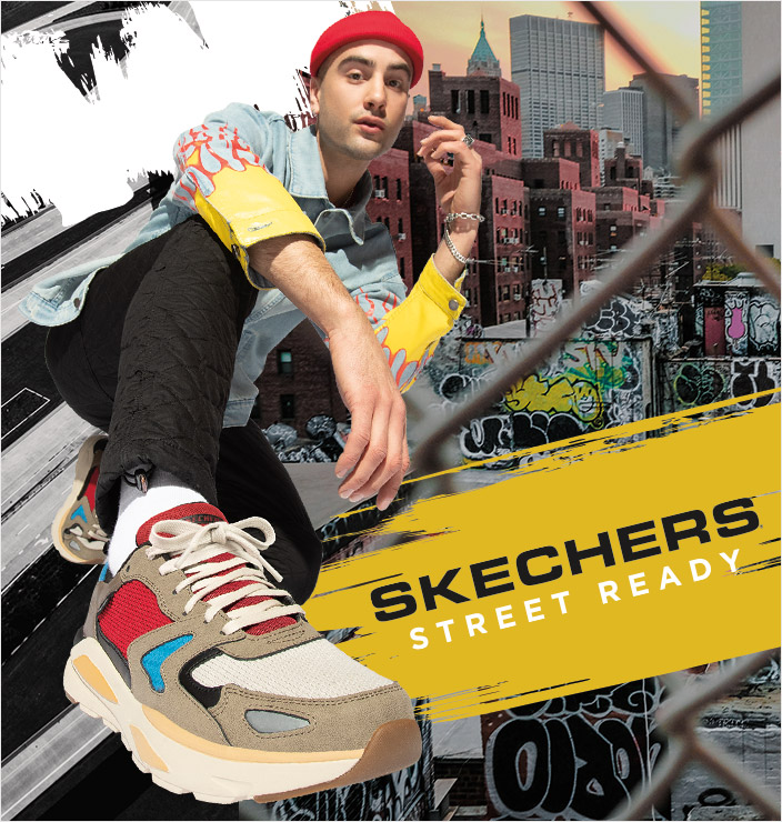 Choose some street ready style with Skechers Sport sneakers.  Classic kicks with color and refreshing style like the D'Lites, Stamina and Monster.