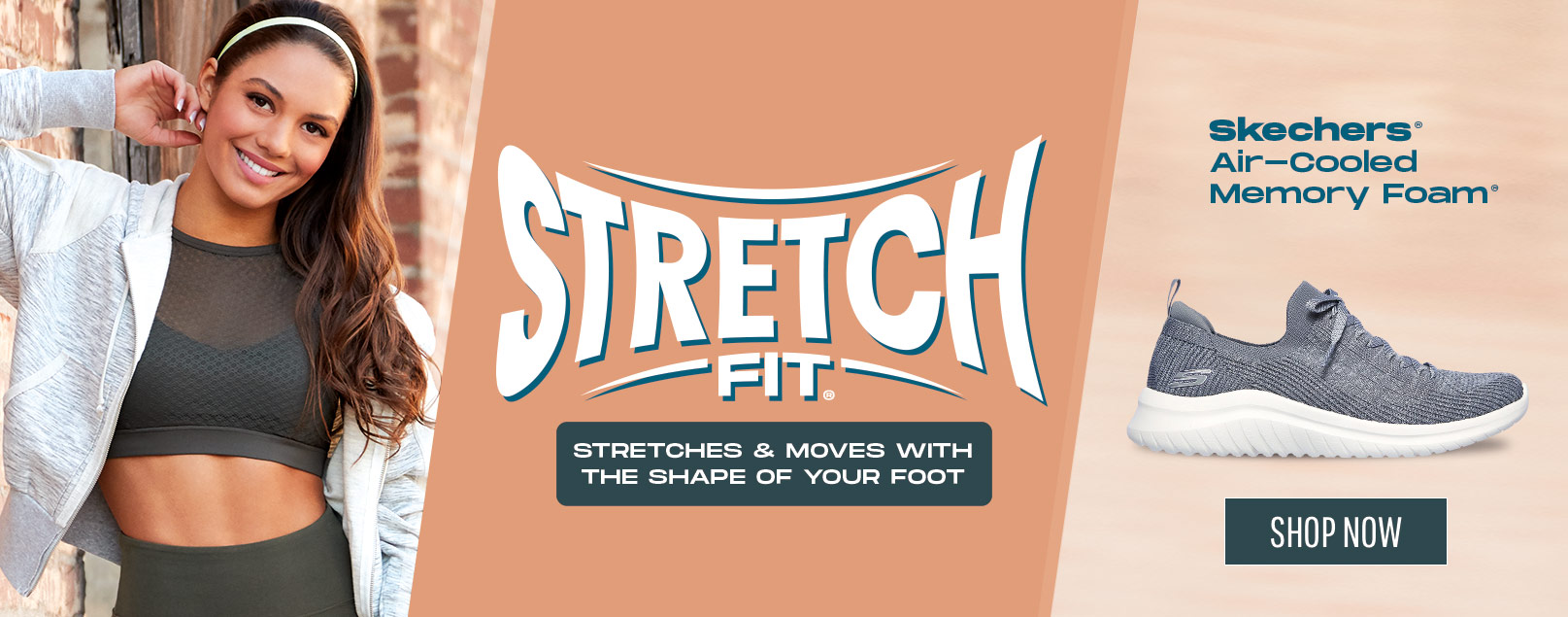 Find the ultimate flexible comfort with Skechers Stretch Fit shoes.  Stretchable material fits perfectly and moves with the shape of your foot for sock-style comfort feel.