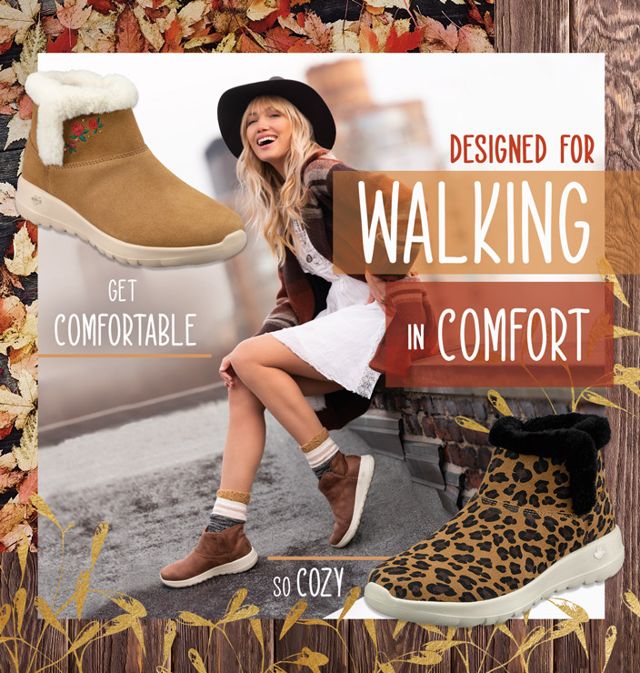 Stay warm and walk comfortably with Skechers On the GO Joy boots.  Pretty suedes and prints with warm faux fur trim and linings all with GOwalk inspired cushioned comfort for the perfect look for chilly weather.