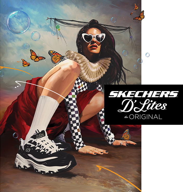 The iconic Skechers D'Lites sneaker is this seasons' fashion must-have style!  Choose classic or new designs.