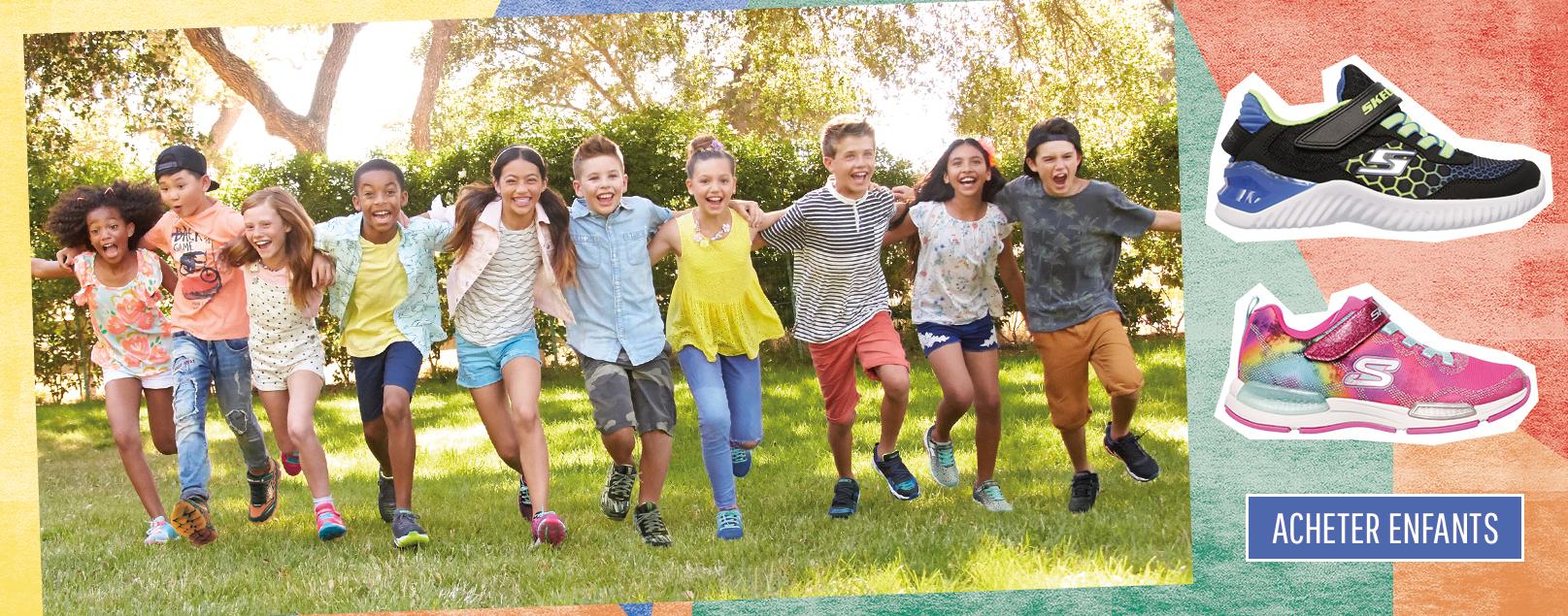 Chaussures Skechers Kids pour garçons et filles incluant des chaussures de type athlétiques, qui s'illuminent et Twinkle Toes.